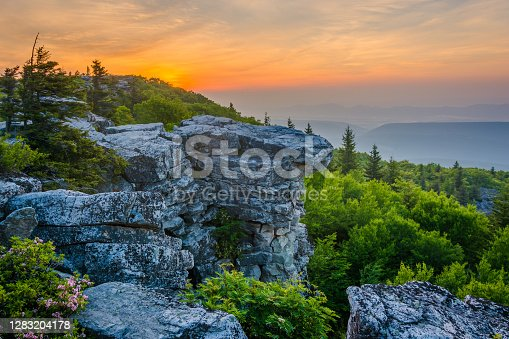 istock Sunrise at Bear Rocks Preserve, in Dolly Sods Wilderness, Monongahela National Forest, West Virginia 1283204178