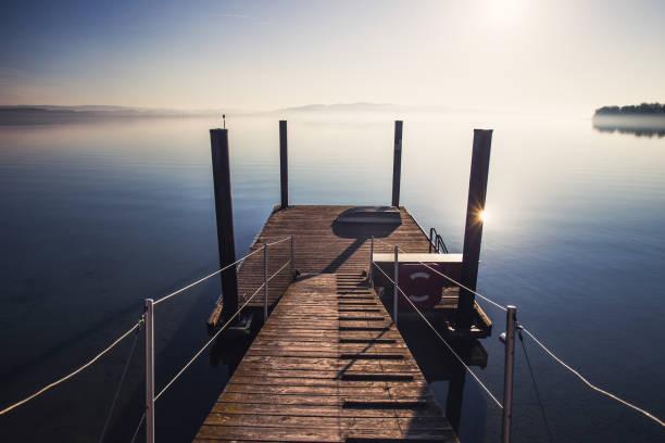 sunrise at bodensee lake in germany - sommerferien baden württemberg stock-fotos und bilder