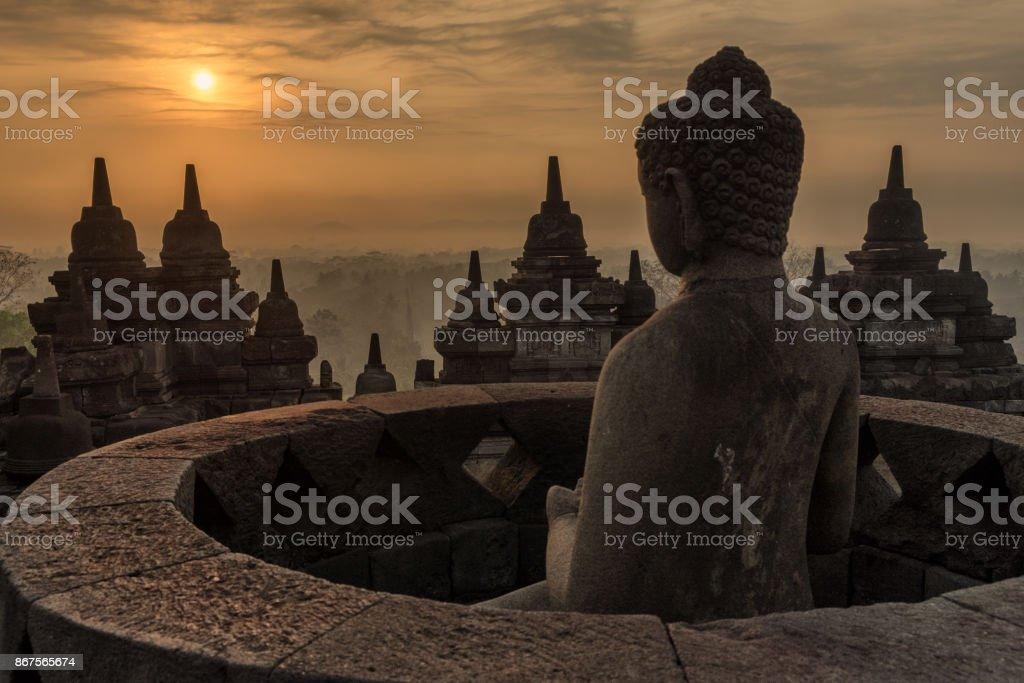 Sunrise at Borobudor, Indonesia stock photo