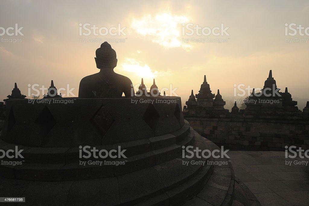 Sunrise at Borobudur royalty-free stock photo
