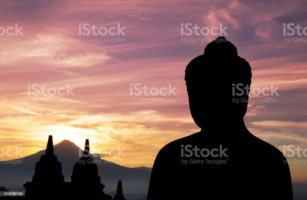 Sunrise at Borobudur stock photo