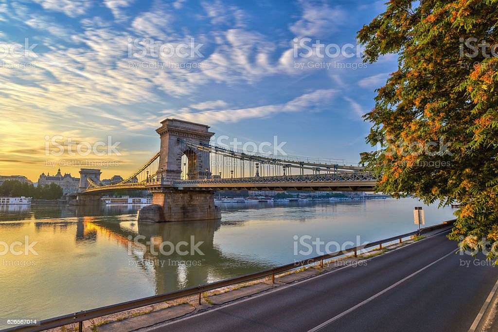 sunrise at Budapest Chain Bridge, Hungary stock photo