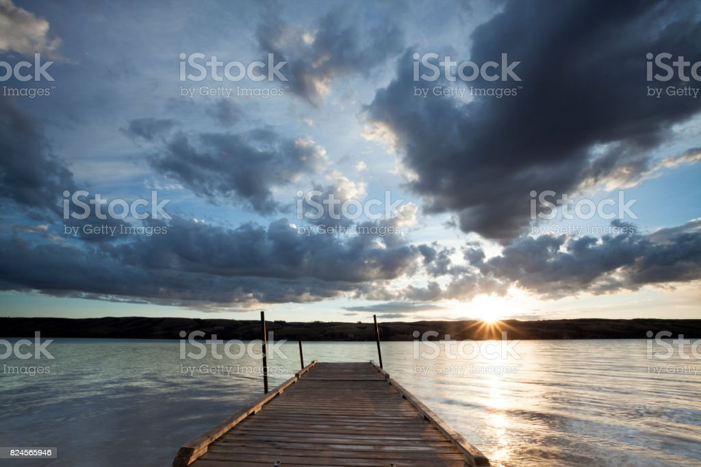Sunrise At Buffalo Pound Provincial Park Saskatchewan Canada stock photo