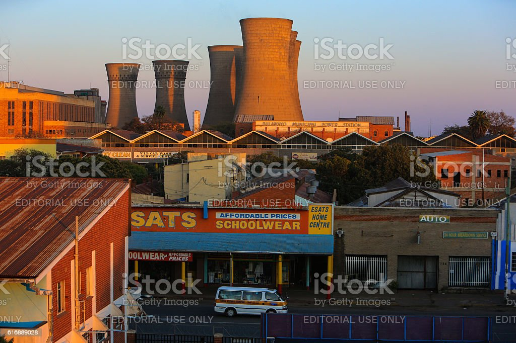 Sunrise at Bulawayo Power Station, Zimbabwe stock photo