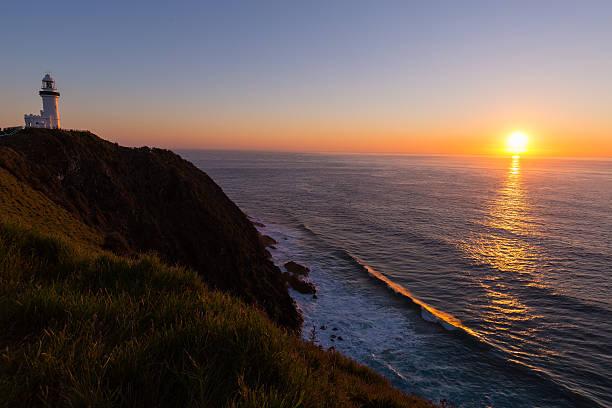 Sunrise at Byron Bay Lighthouse stock photo