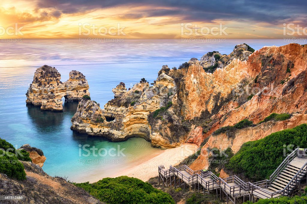 Sunrise at Camilo Beach, Lagos, Portugal stock photo
