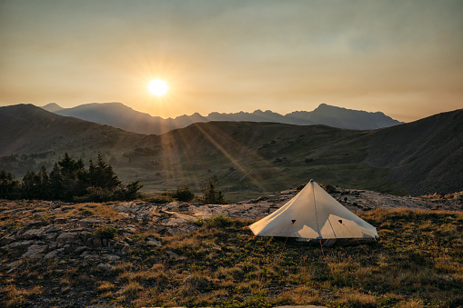 Sunrise at camp in the Holy Cross Wilderness, Colorado in Vail, CO, United States