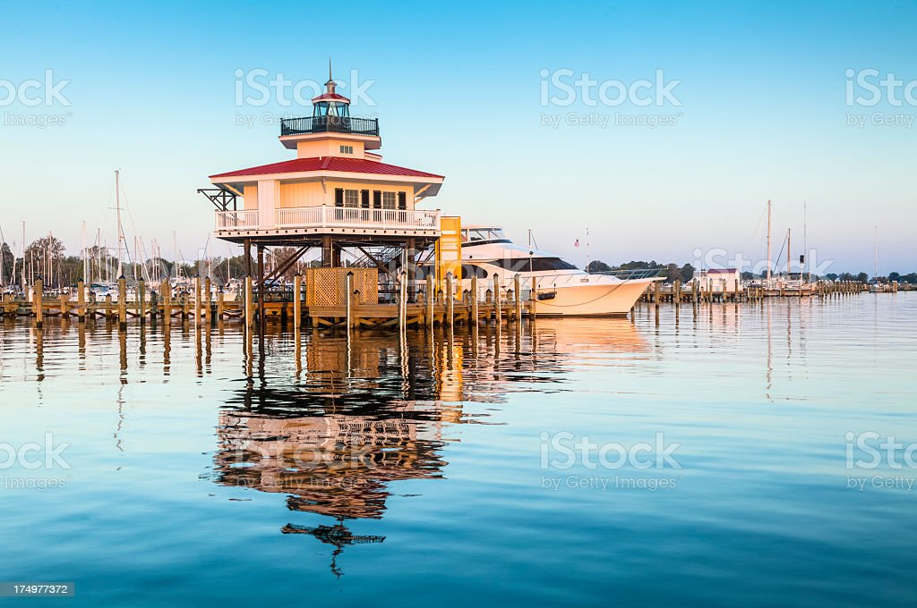 Sunrise at Choptank River Lighthouse stock photo