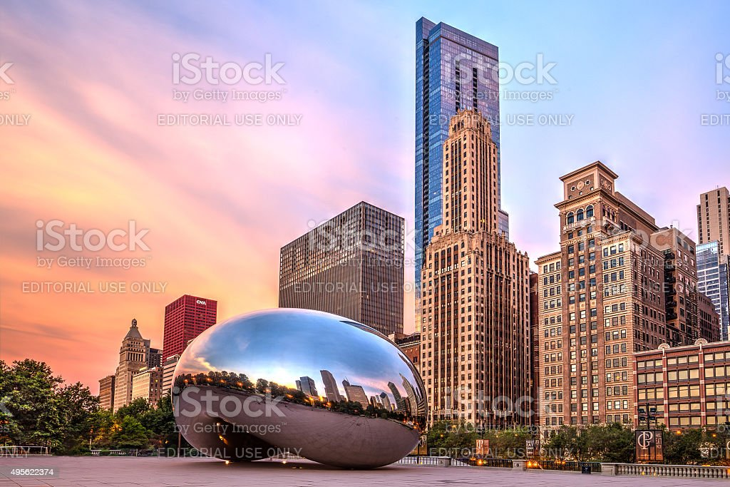 Sunrise at Cloud Gate stock photo
