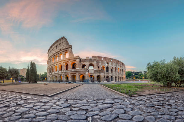 Sunrise at Colosseum, Rome, Italy Capital Cities, Famous Place, Sunrise - Dawn, Coliseum, No people, Europe rome italy stock pictures, royalty-free photos & images