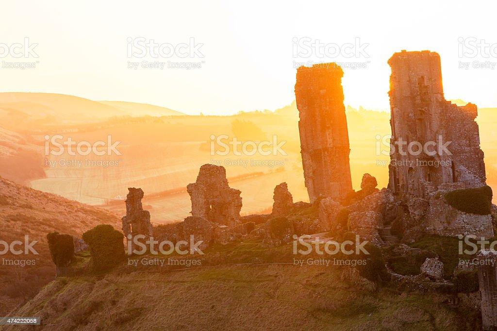 Sunrise at Corfe Castle stock photo