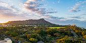 A beautiful morning in Honolulu overlooking Diamond Head Crater