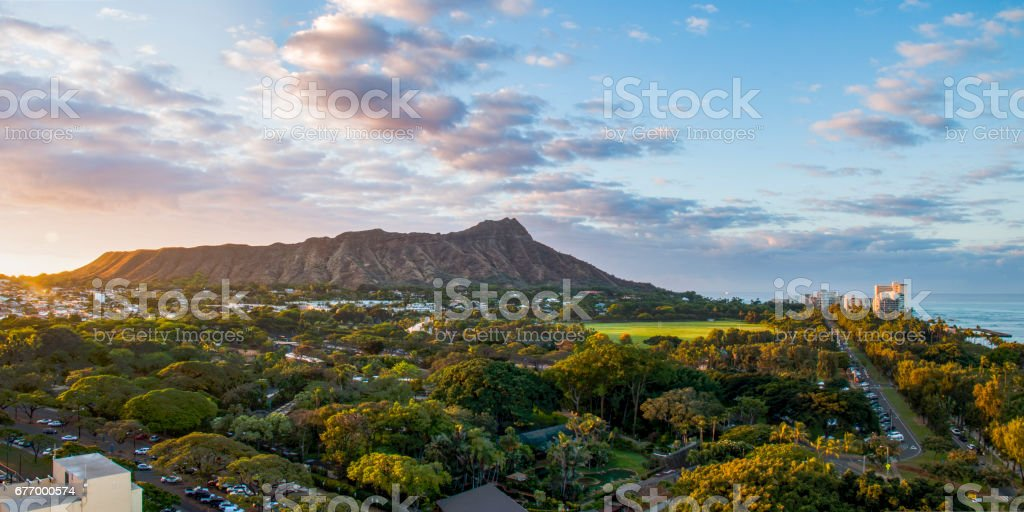Sunrise at Diamond Head stock photo