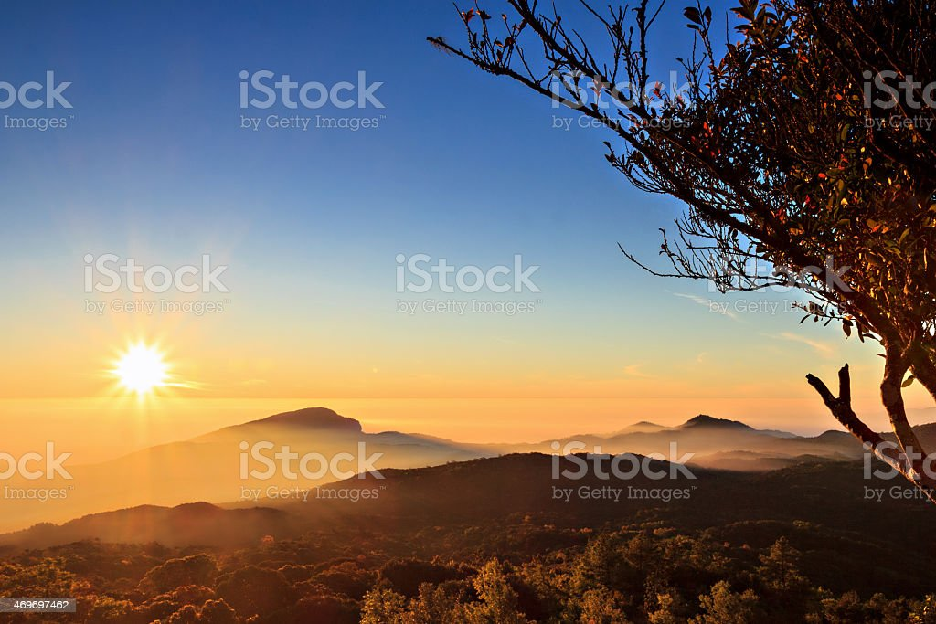 Sunrise at Doi Inthanon, Chiang Mai Thailand Sunrise at Doi Inthanon, Chiang Mai Thailand 2015 Stock Photo