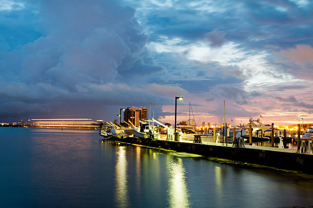 Sunrise at downtown Dock stock photo