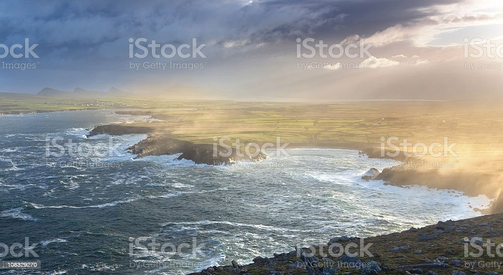 sunrise at Dunmore Head stock photo