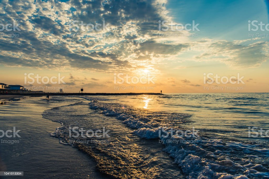 Sunrise at East Beach stock photo