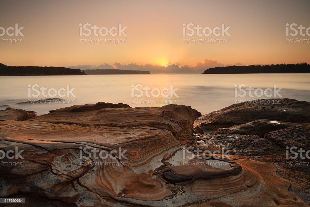Sunrise at Edwards Beach, Balmoral stock photo