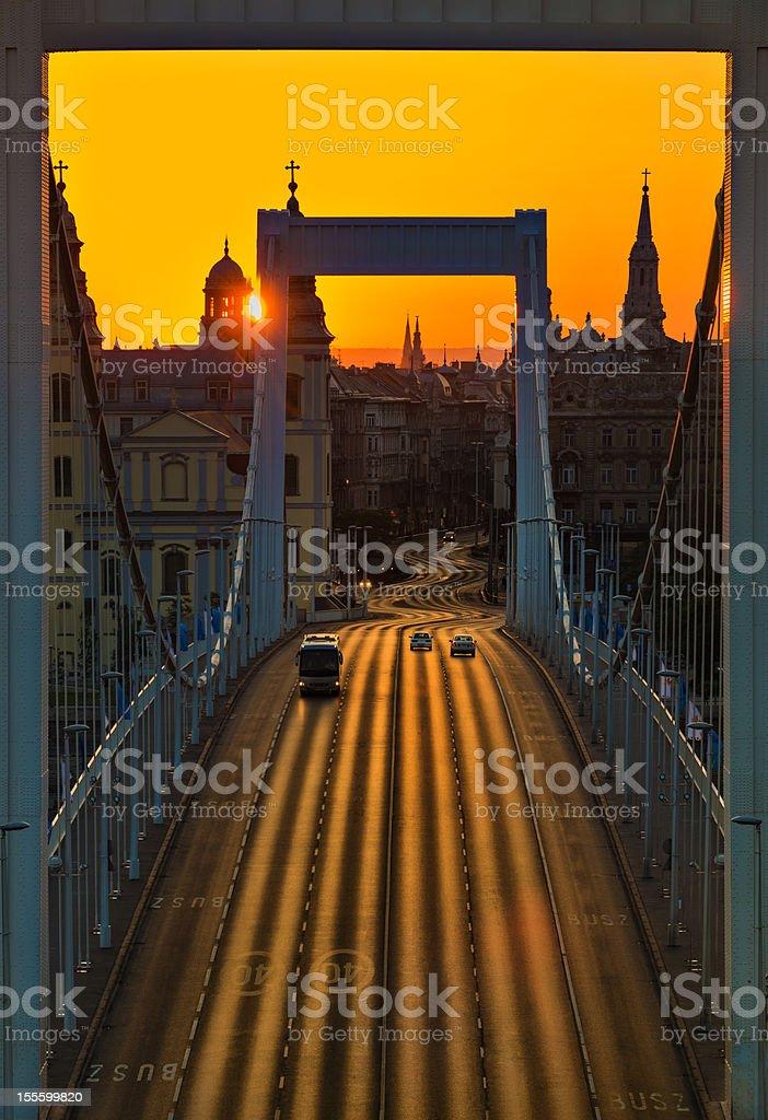 Sunrise at Elizabeth Bridge, Budapest royalty-free stock photo