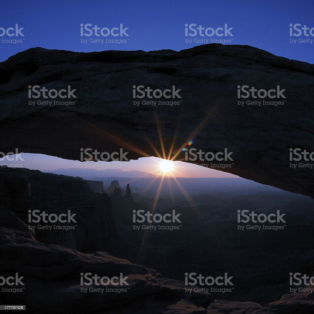 Sunrise at famous Mesa Arch stock photo