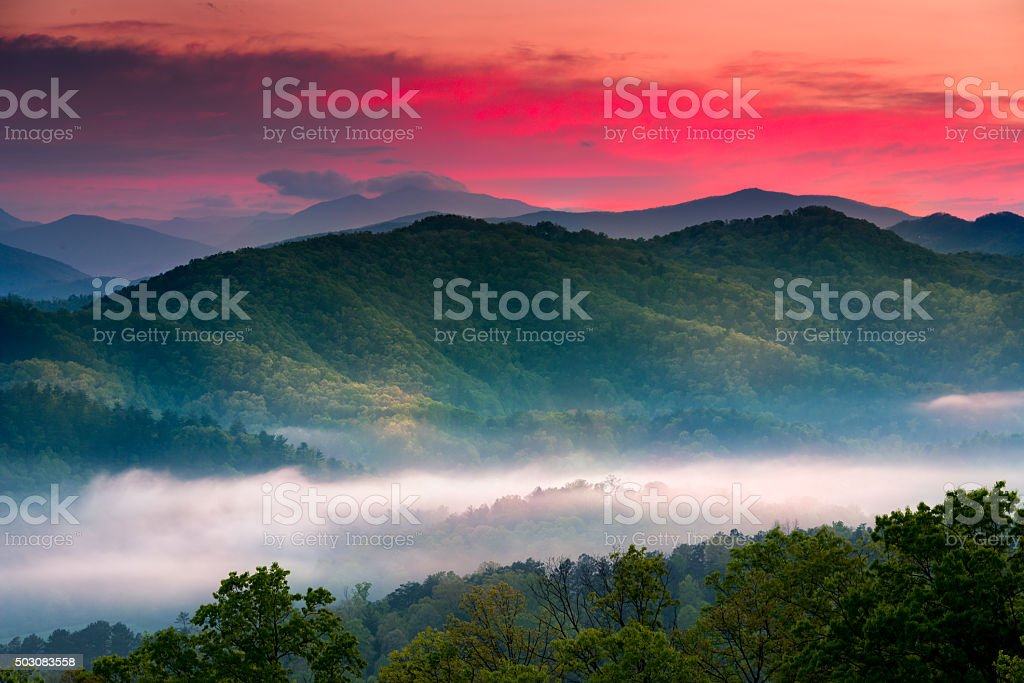 Sunrise at Foothills Parkway Overlook stock photo