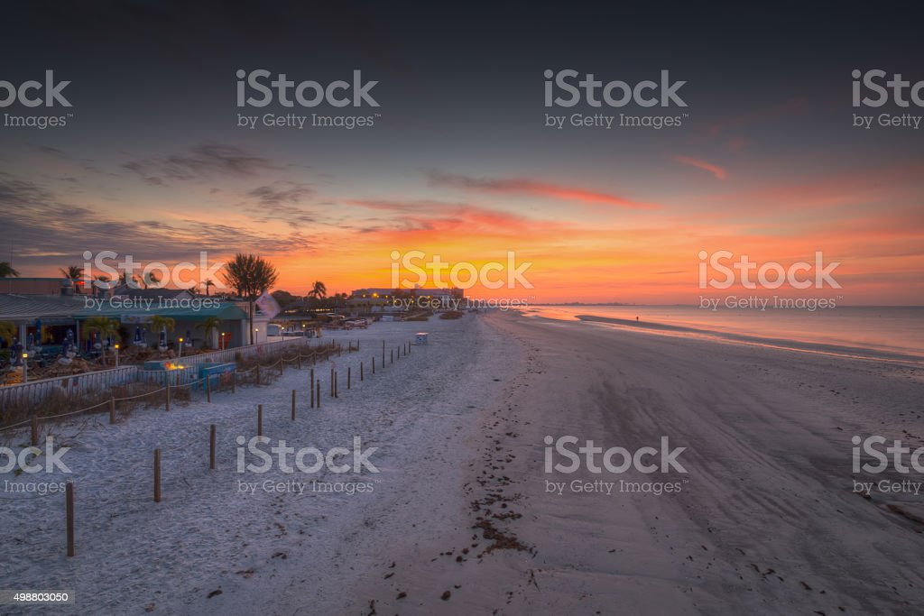 Sunrise at Fort Myers beach stock photo