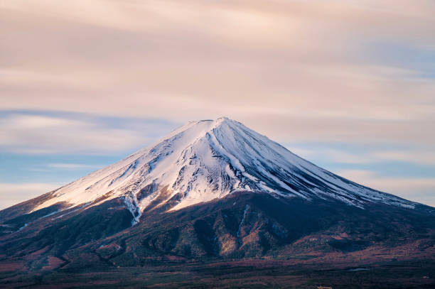 sunrise at fuji mountain, Japan stock photo