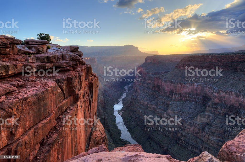 Sunrise at Grand Canyon toroweap point stock photo