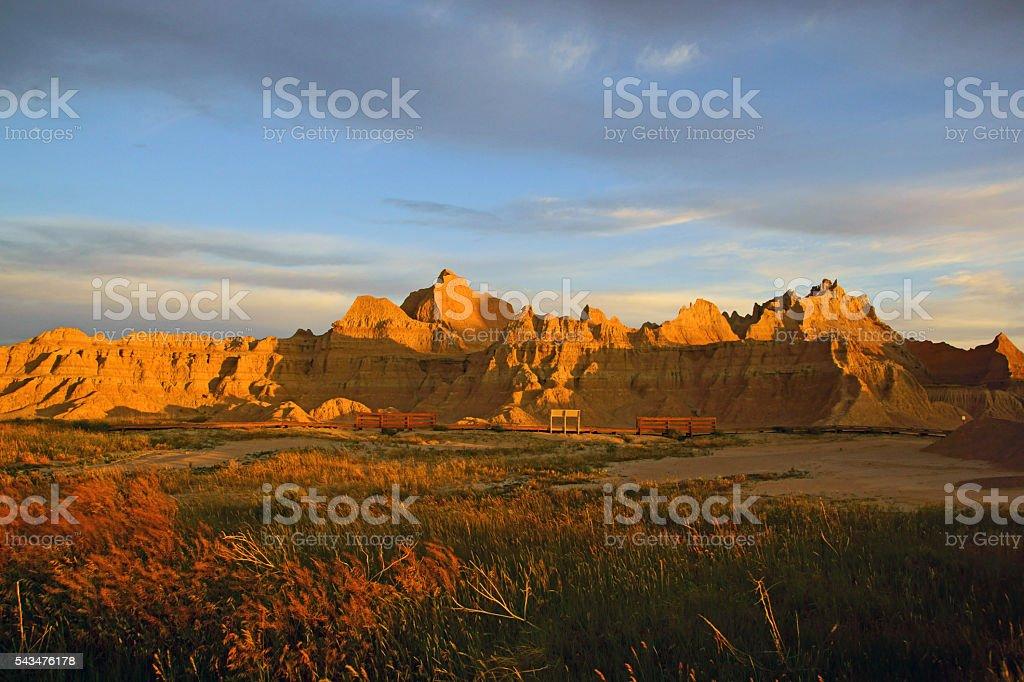 Sunrise at grasslands of Badlands National Park stock photo