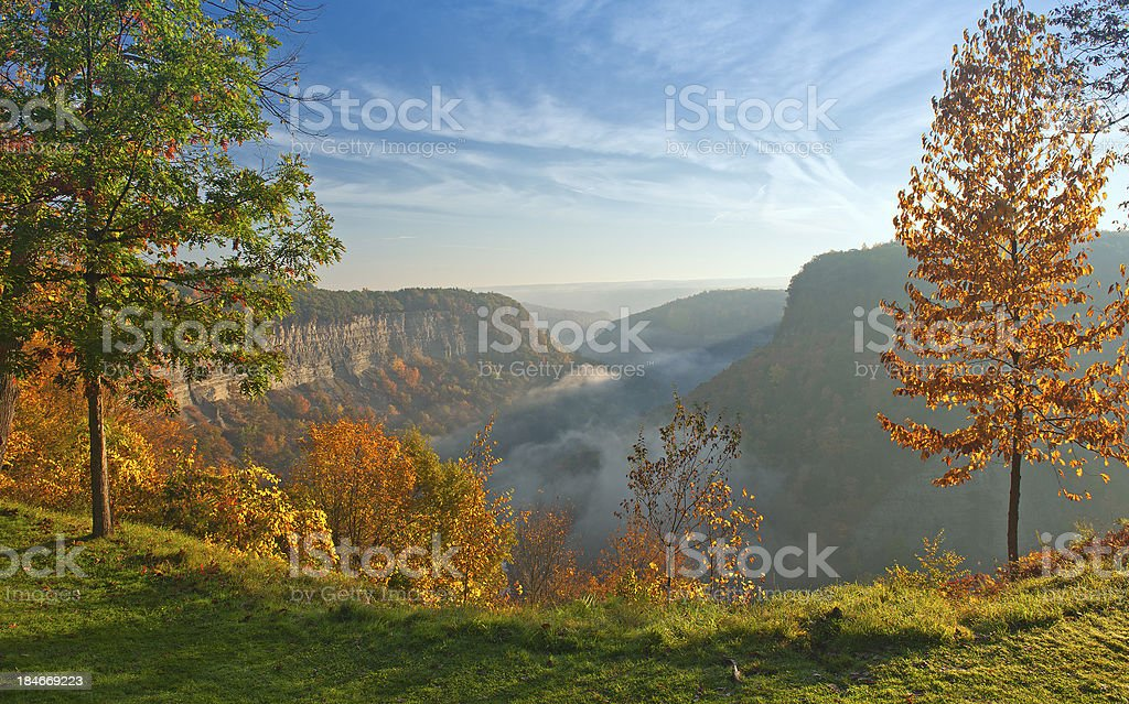 Sunrise at Great Bend Overlook Great Bend Overlook At Letchworth State Park In New York Just After Sunrise. Letchworth State Park Stock Photo