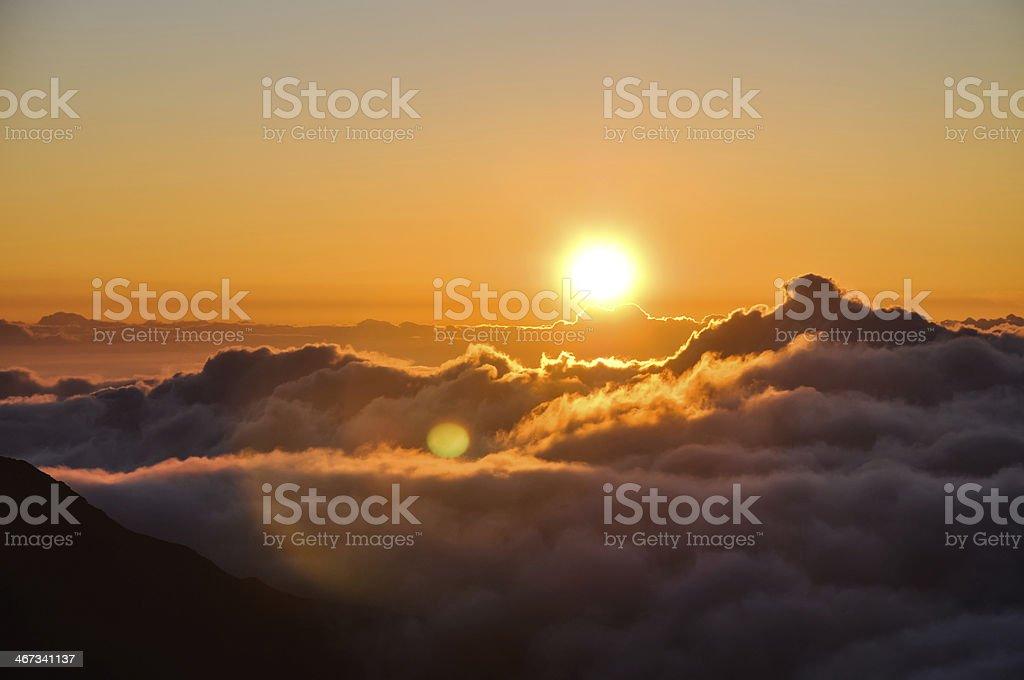 Sunrise at Haleakala Crater in Maui, Hawaii royalty-free stock photo