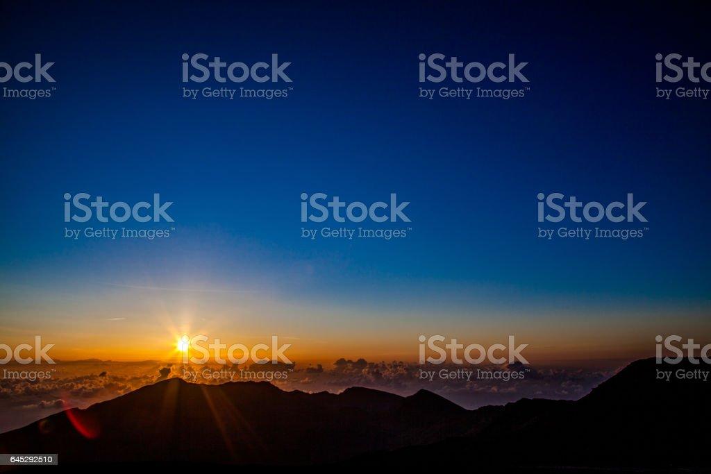 Sunrise at Haleakala National Park in Maui stock photo
