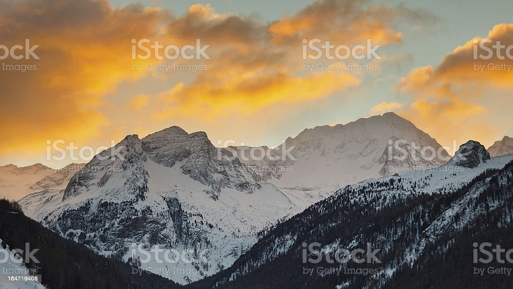 Sunrise at Hochgall Mountain in South Tyrol, Italy stock photo