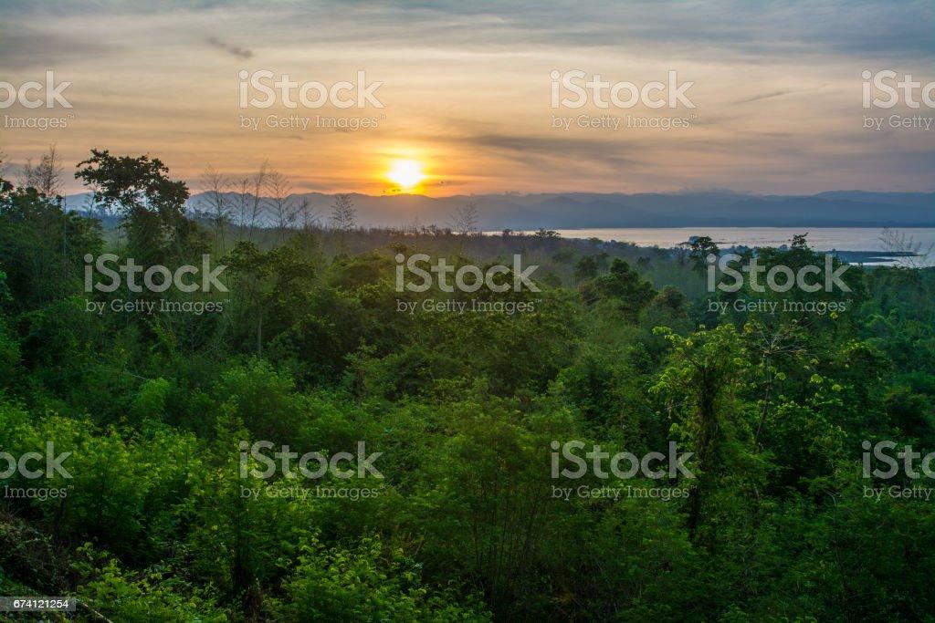 Sunrise at Huaymaekamin Waterfall in  Kanchanaburi Province, Thailand royalty-free stock photo
