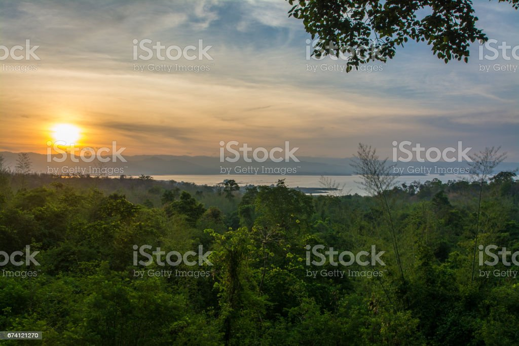 Sunrise at Huaymaekamin Waterfall in  Kanchanaburi Province, Thailand royalty-free stock photo
