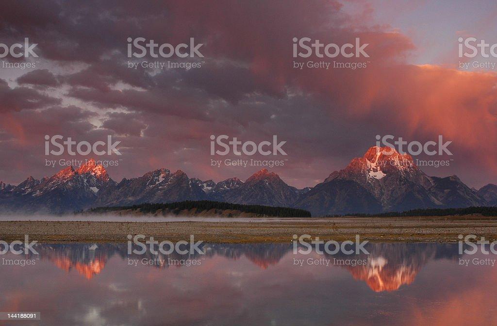 Sunrise at Jackson Lake royalty-free stock photo