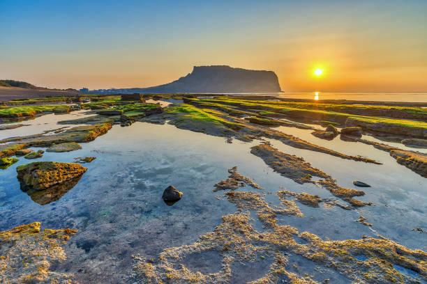 sunrise at jeju do seongsan ilchulbong, jeju island, south korea - jeju island stock photos and pictures