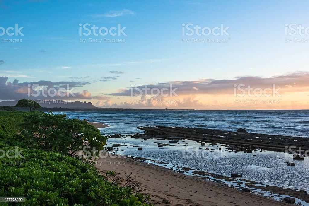 Sunrise at Kalapaki Beach, Kauai stock photo