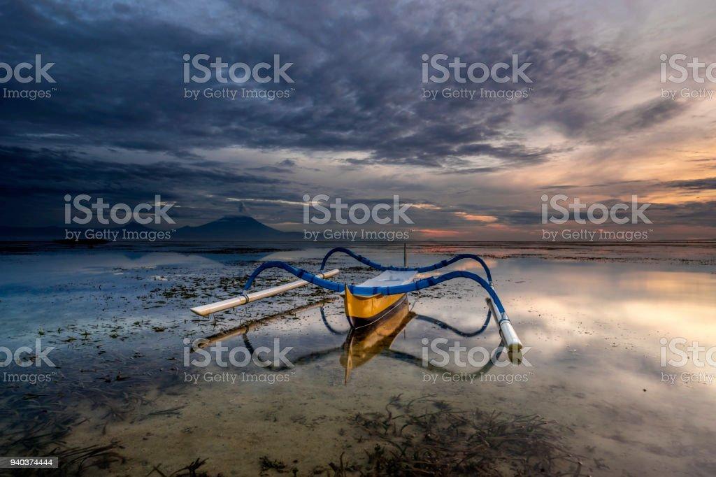 Sunrise at Karang Sanur Beach stock photo