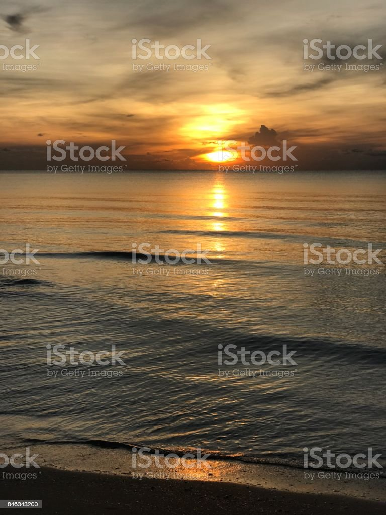 Sunrise at Khanom beach in Thailand. stock photo