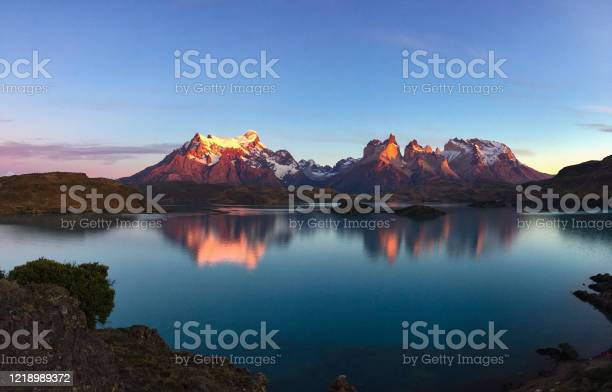 Photo of sunrise at Lago Pehoe, Torres del Paine national park, Chile