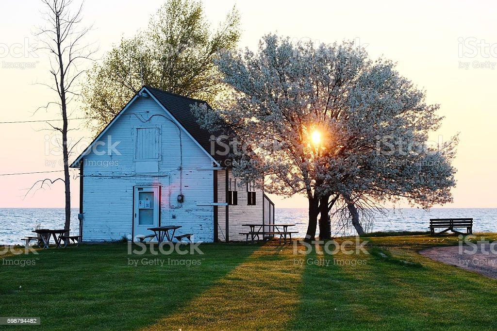 Sunrise at Lake Huron stock photo