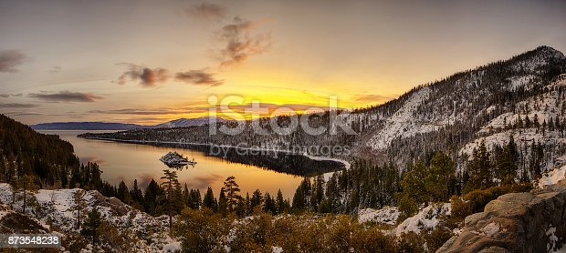 A High Dynamic Range panorama of Sunrise at Lake Tahoe, Emerald Bay