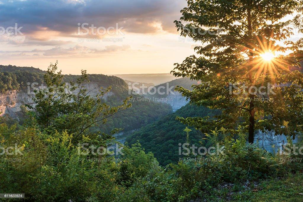 Sunrise At Letchworth State Park stock photo