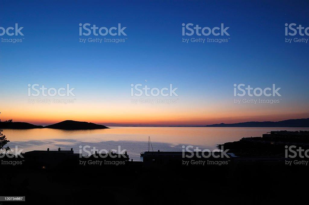 Sunrise at luxury resort, Crete, Greece royalty-free stock photo