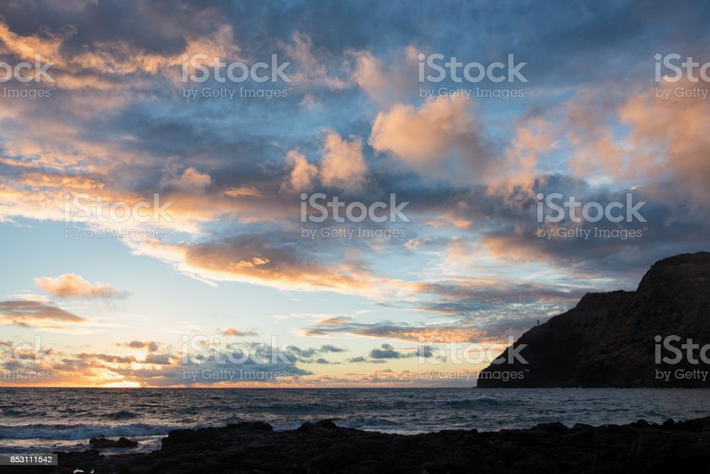 Sunrise at Makapuu Lighthouse stock photo
