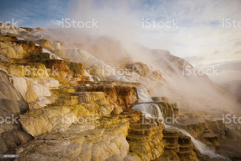 Sunrise at Mammoth Hot Springs in Yellowstone National Park stock photo