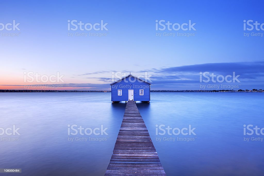 Sunrise at Matilda Bay boathouse in Perth, Australia stock photo