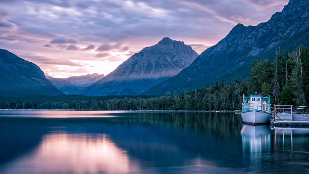 sunrise at mcdonald lake - mcdonald lake stock pictures, royalty-free photos & images