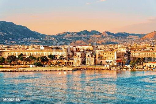 istock Sunrise at Mediterranian sea Sicily Palermo old city 960992168